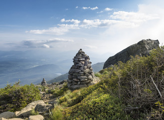 Rock Cairns on Algonquin Peak in the Adirondack Mountains