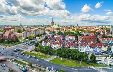 Szczecin - stare miasto z lotu ptaka. Krajobraz Szczecina z bazylika.