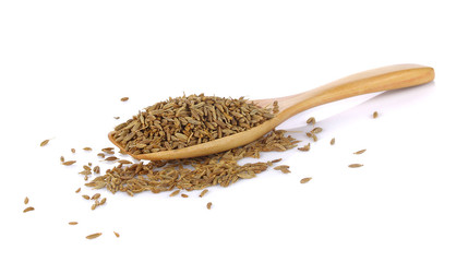 Ground cumin in  spoon isolated on white background.
