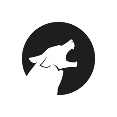 Howling wolf head logo or icon in black and white. Vector illustration.