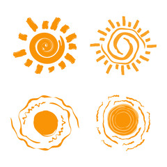 Vector collection of different sun icon. Sun icon set. Isolated on white background. Vector illustration.
