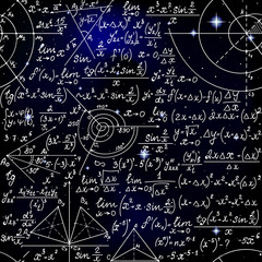 Math space vector seamless pattern with handwritten formulas, figures and algebra equations on starry cosmic background