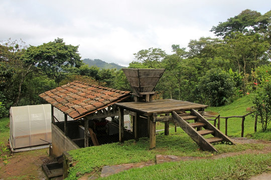Landscape and coffee farm in the highlands of Matagalpa, Nicaragua, Central America