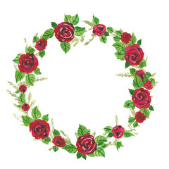Red roses and green leaves watercolor illustration wreath