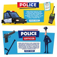 Policeman character and police car. Cartoon vector illustration