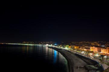 The night view of Promenade des Anglais