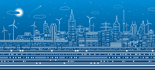 Urban city scene, town infrastructure illustration, modern skyline, white lines on blue background, vector design art