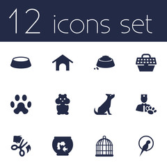 Set Of 12 Animals Icons Set.Collection Of Scissor, Home, Rat And Other Elements.