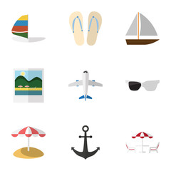 Flat Icon Beach Set Of Beach Sandals , Reminders, Yacht Vector Objects. Also Includes Beach, Umbrella, Parasol Elements.