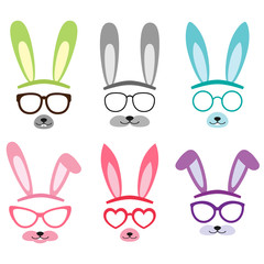 Set of cartoon vector bunny ears
