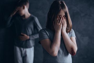 Sad abused children