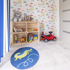 Children's room with car wallpaper