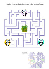 Maze game for kids: Help the three panda bear brothers to meet in the bamboo forest in the middle of the maze. Answer included.