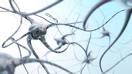 Neural network of the brain, nerve nodes, 3D rendering