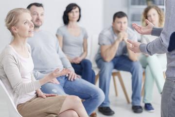 Woman psychologist speaking