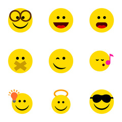 Flat Icon Emoji Set Of Descant, Hush, Laugh And Other Vector Objects. Also Includes Angel, Song, Eyeglasses Elements.