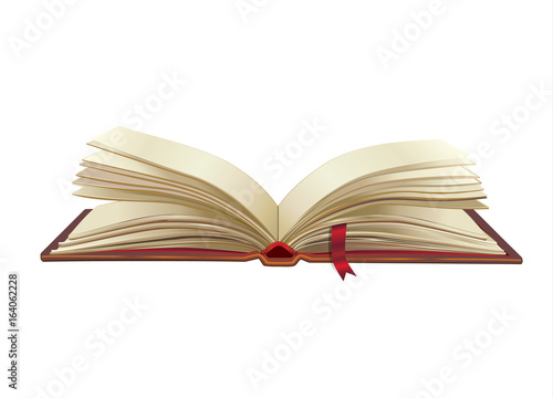 Open book isolated on white background  3D Old paper pages texture