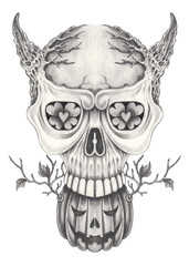 Art surreal skull tattoo.Hand pencil drawing on paper.