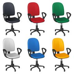 Офисное крутящееся кресло на колесиках, шесть разных цветов обивки - черный, красный, зеленый, белый, голубой и желтый, на белом фоне