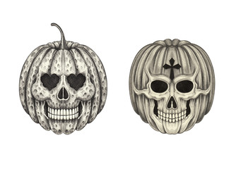 Art pumpkin skulls.Hand pencil drawing on paper.