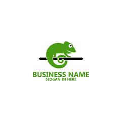 Green Chameleon Logo Template Design
