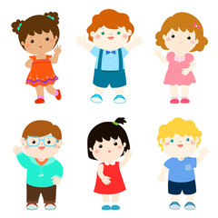 Happy kids variety nationality cartoon vector.