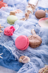 Assorted almond cookies macaroon with sea decoration on light gray stone background. Party food concept.