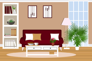 The interior of the living room. Flat design. Furniture for the home. Cartoon. Vector.