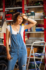 portrait of a beautiful mechanic woman