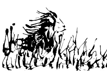 Lion on nature silhouette isolated on a white backgrounds vector illustration