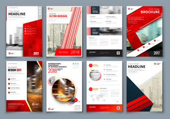 Brochure design. Red Corporate business template for brochure, report, catalog, magazine, book, booklet. Layout with modern triangle elements and abstract background. Creative vector concept Wall mural