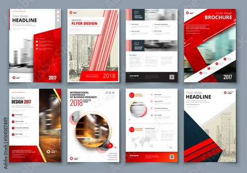 Brochure design. Red Corporate business template for brochure ...