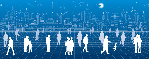 A lot of people walk around the square, against the background of a modern city, vector design art