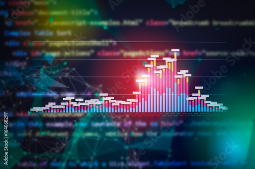 Stock market digital graph chart on LED display concept  A large