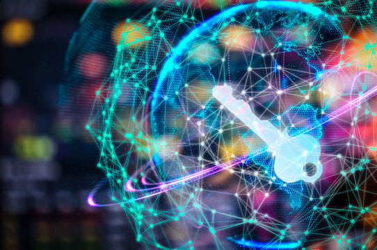Cyber security concept businessman Lock on digital screen, contrast, virtual screen with a consultant doing presentation in the background Closed Padlock on digital, cyber security, key WannaCrypt