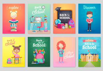 Wall Mural - Back to School card set, school kids, chalkboards, equipment.