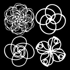 Round symbols spirographs design element set. Template for creating logo emblem, monogram frame. Linear style geometry mandalas. Vector.