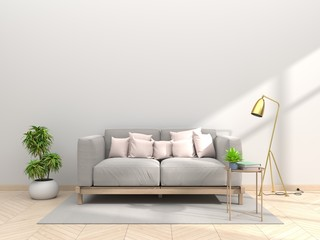 Design living room with sofa pillow pink paste with lamps and white walls
