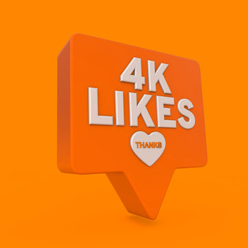 4 thousand likes orange internet social media subscriber banner.