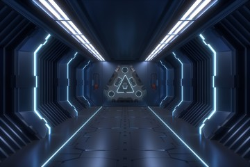 Science background fiction interior rendering corridor and blue light,3D rendering