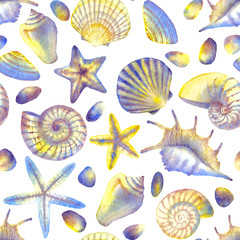 Colorful watercolor seamless background with seashells, sea stars and rocks. Perfect for textiles, wallpaper and prints.