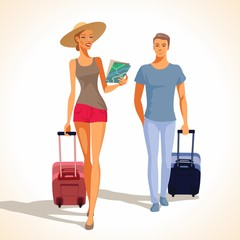 Man and woman traveling.