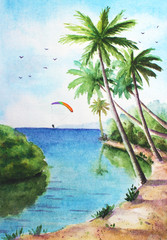 Watercolor tropical sunny landscape with ocean, palms, cloudy sky and kitesurfer for background.