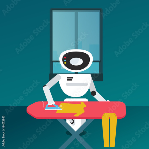Domestic Robot ironing clothes  Personal robot housekeeping
