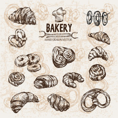 Digital vector detailed line art bakery bread and dried wheat hand drawn retro illustration collection set. Thin artistic pencil outline. Vintage ink flat, engraved mill doodle sketches. Isolated