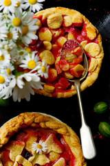 gooseberry pie. dark photo