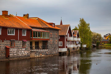 Old tow of Falun with traditional red Swedish wooden dwellings. Dalarna County, Sweden.