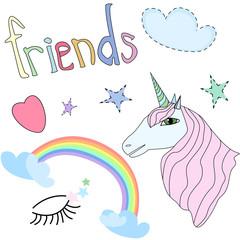 Set of Beautiful Unicorn Pink Mane, Opened Eyes, Stars, Rainbow, Heart Cartoon Style Vector Illustration