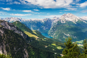 Beautiful summer landscape, Berchtesgarden aerial view from Kehlsteinhaus, Germany