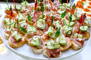Canape with salami and cucumber on a plate
